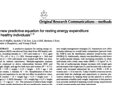 A new predictive equation for resting energy expenditure in healthy individuals
