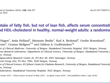 High intake of fatty fish, but not of lean fish, affects serum concentrations of TAG and HDL-cholesterol in healthy, normal-weight adults: a randomised trial
