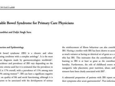 Irritable Bowel Syndrome for Primary Care Physicians