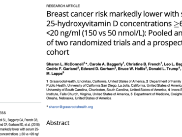 Breast cancer risk markedly lower with serum 25-hydroxyvitamin D concentrations >=60 vs
